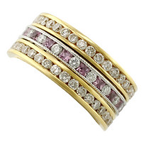 18k Rose Gold Round Diamond Channel Eternity Bands with Platinum Hand-Engraved Diamond & Pink Sapphire Channel Eternity Band