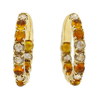 18k Yellow Gold Champagne Diamond & Citrine Hoops