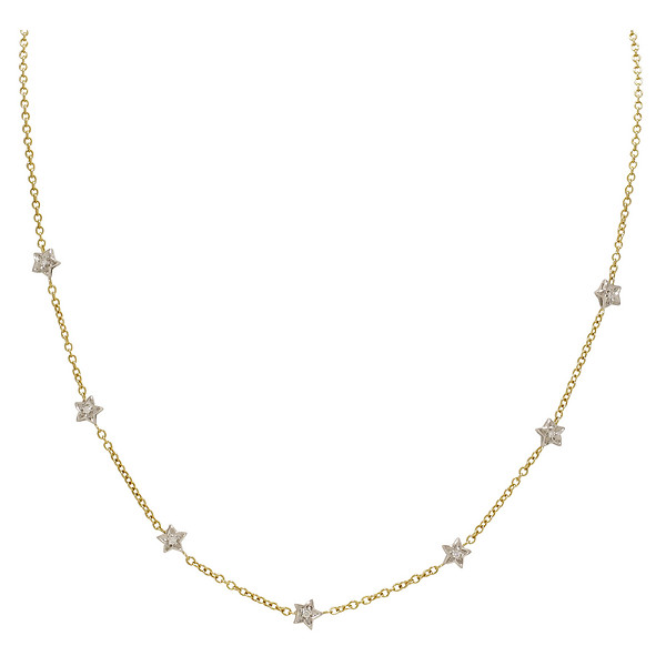 14k Two-Tone Gold Star Station Chain in a 22