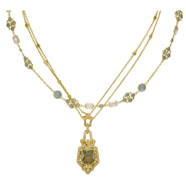 18k Yellow Gold Vintage Diamond & Green Amethyst Pendant with 18k Yellow Gold Moonstone & Apatite Ornate Lattice Necklace