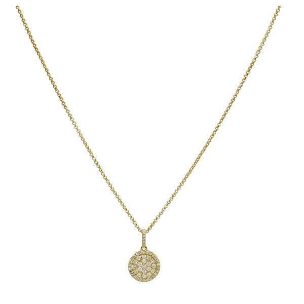 Burdeens jewelry 14k yellow gold pave diamond sliding disk 14k yellow gold pave diamond sliding disk pendant necklace aloadofball Images