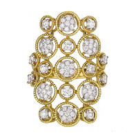 18k Two-Tone Gold Round Bubble Pattern Diamond Ring