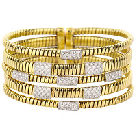 18k Two-Tone Gold Five-Row Omega Pave Diamond Station Cuff