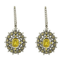 18k White Gold Black Rhodium Vintage Style Oval Dangle Earrings with Diamonds & Yellow Sapphires
