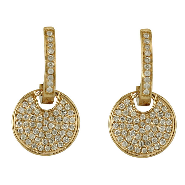 18k Rose Gold Diamond Pave Round Disk Earrings