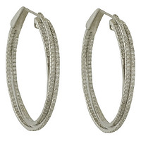 18k White Gold Triple Diamond Hoops