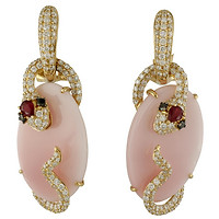18k Rose Gold Snakes with Rubies, Pave Diamonds, & Pink Coral Slice Earrings