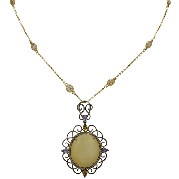 Black Rhodium-Plated 18k Gold Oval Faceted Slice of Yellow Sapphire Champange Diamond Halo Pendant on a Station Necklace
