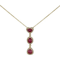18k Rose Gold Pink Heart, Oval, & Pear Sapphire Drop Necklace