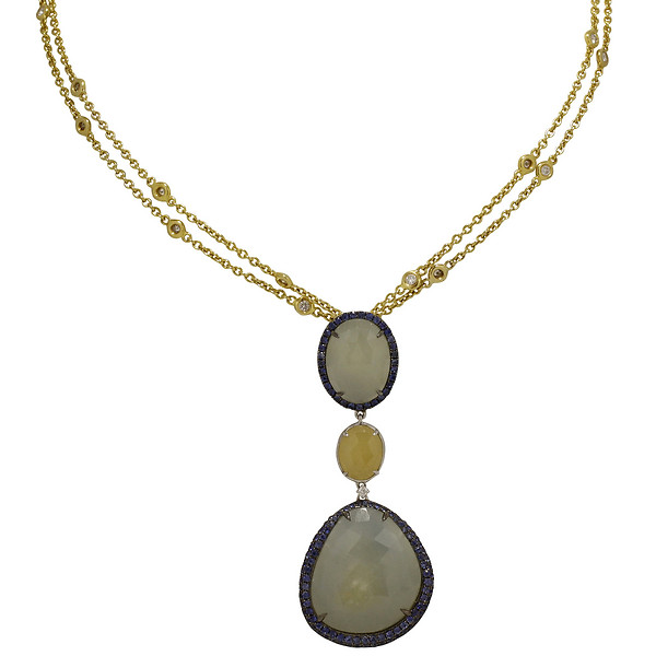 Black Rhodium-Plated 18k Gold Sapphire Slice and Round Blue Sapphire Pendant on a Round Diamond Station Necklace