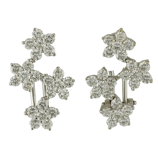 18k White Gold Four Flower Diamond Earrings
