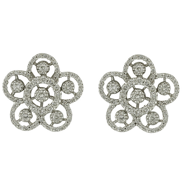 18k White Gold Hollow Flower Diamond Earrings