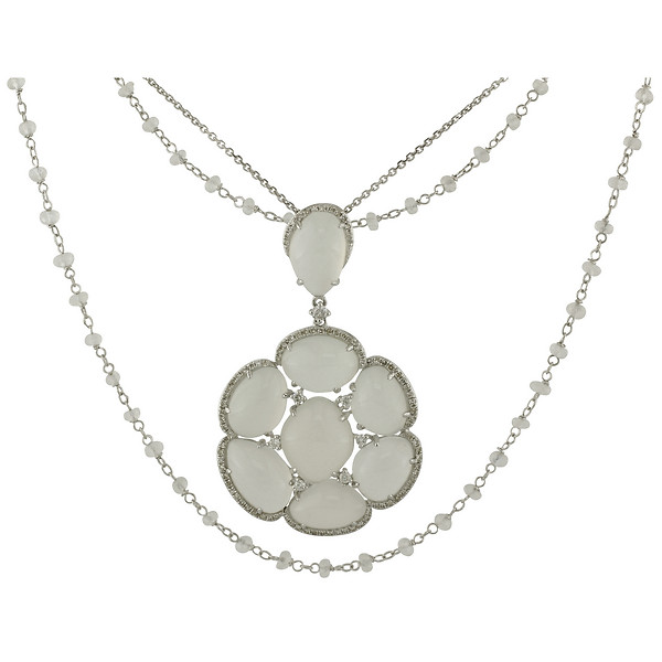 14k White Gold Cabochon Moonstone Cluster Pendant with an 18k White Gold Moonstone Briolette Bead Necklace