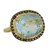14k Yellow Gold Oval Faceted Blue Topaz Diamond Halos Ring