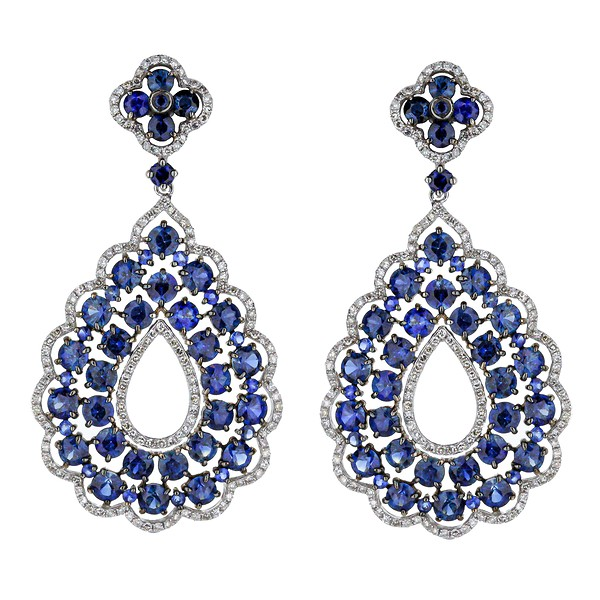14k White Gold Diamond Blue Shire Pear Drop Earrings