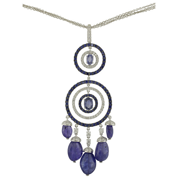 Burdeens jewelry 18k white gold concentric circles diamond blue 18k white gold concentric circles diamond blue sapphire tanzanite pendant necklace aloadofball Images