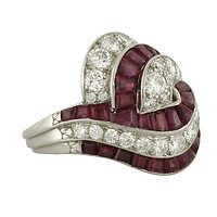 Platinum Diamond Ruby Swirl Ring