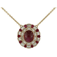 18k Rose Gold Rubellite, Ruby, Diamond, & Mother-of-Pearl Bloom Pendant Necklace