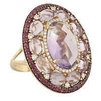 14k Rose Gold Faceted Oval Amethysts & Round Diamond & Ruby Halos Ring