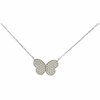 18k White Gold Pave Butterfly Pendant Necklace