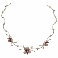18k White Gold Pave Diamond & Pink Sapphire Orchid Necklace