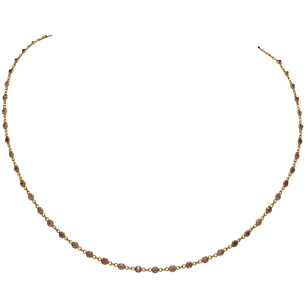 18k Rose Gold Round Pink Sapphire Station Necklace in 20