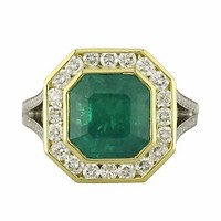 Platinum & 18k Yellow Gold Emerald-Cut Emerald with Diamond Halo Partial Split-Shank Ring