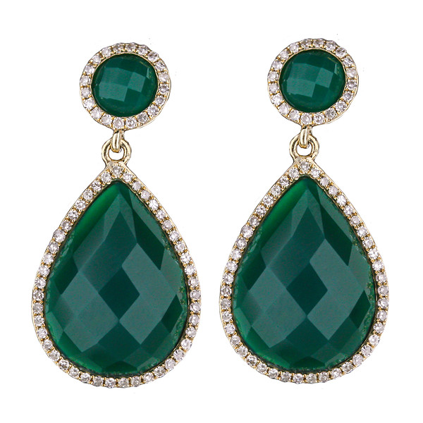 14k Yellow Gold Green Agate Slices With Round Diamond Halo Earrings