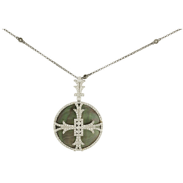 18k White Gold Green Mother-of-Pearl Disc & Diamond Maltese Cross Pendant on a Diamond Station Necklace