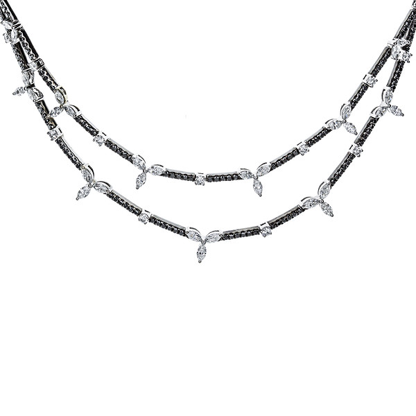 18k White Gold White Marquise Leaves & Black Diamond Necklace