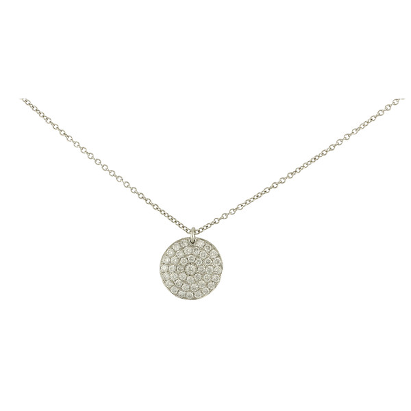 Burdeens jewelry 18k white gold pave diamond disk pendant necklace 18k white gold pave diamond disk pendant necklace aloadofball Images