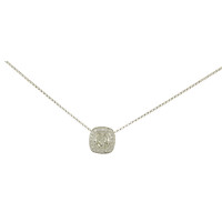 18k White Gold Cushion-Cut Diamond with Halo Pendant Necklace