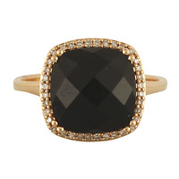 14k Rose Gold Antique Cushion-Cut Black Agate with Diamond Halo Ring