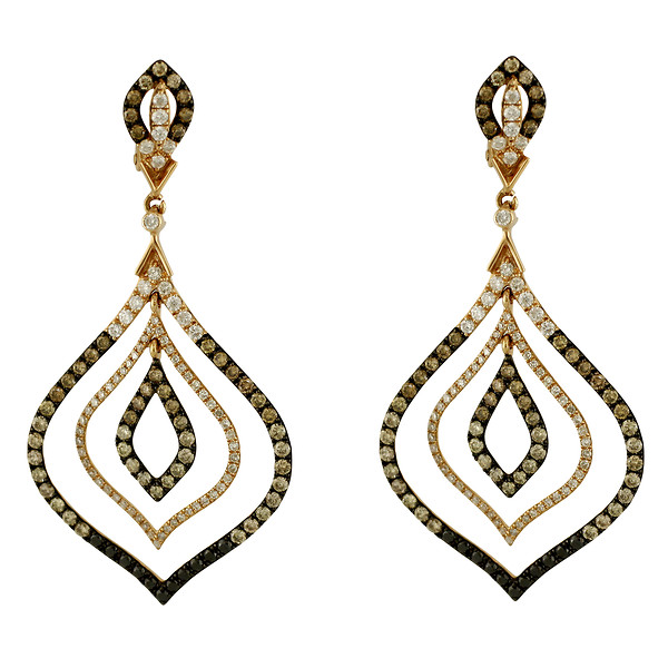 14k Rose Gold Champagne, Black, & White Diamond Hollow Flame-Drop Earrings