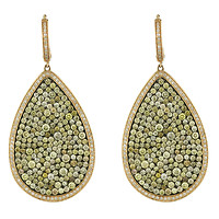 14k Rose Gold Large Pear Pave Champagne Diamond Earrings