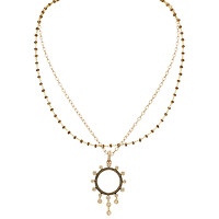 18k Rose Gold White & Champagne Diamond Round Pendant with Dangles with a Chocolate Diamond Briolette Bead Necklace