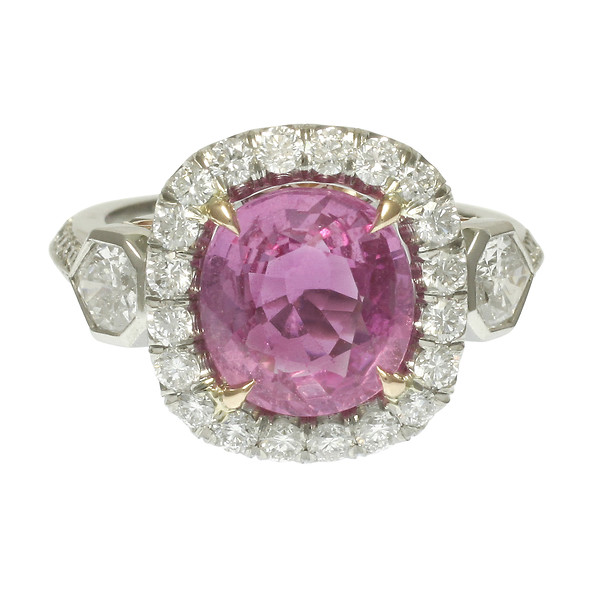 Custom Natural Modified Cushion Pink Sapphire Diamond Halo Ring