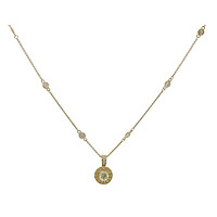18k Yellow Gold Round Diamond Recessed Halo with Millgrain Pendant on a Diamond Station Chain