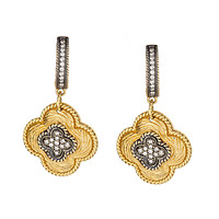 Black Rhodium-Plated 14k Yellow Gold Champagne Diamond Clover Dangle Earrings