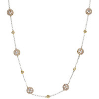 18k Tri-Color Gold White & Yellow Diamond Station Chain