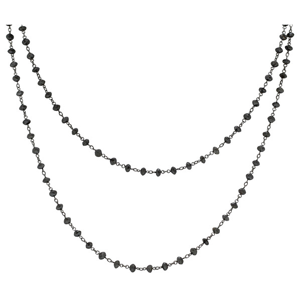 Black Rhodium-Plated 18k White Gold Black Diamond Briolette Bead Necklace in 38