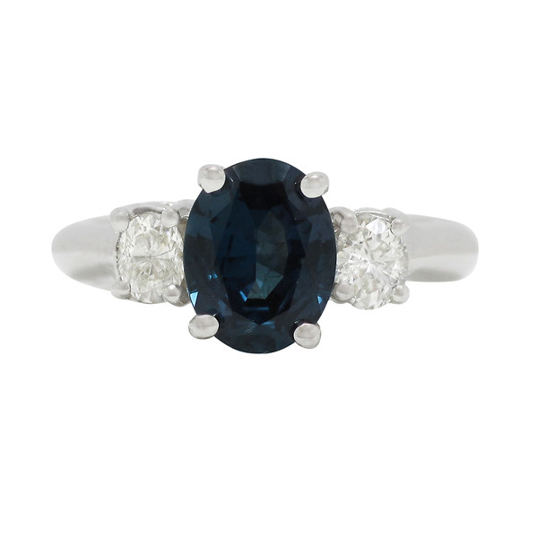 18k White Gold Alexandrite & Diamond Three-Stone Ring