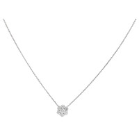 18k White Gold Round Diamond Cluster Pendant Necklace