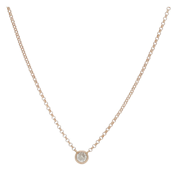 Burdeens jewelry 14k rose gold bezel set round diamond 14k rose gold bezel set round diamond stationary pendant cable necklace mozeypictures Image collections