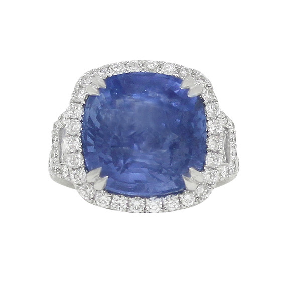Platinum Blue Sapphire Cushion with Diamond Halo & Trapezoidal Side-Stones Ring