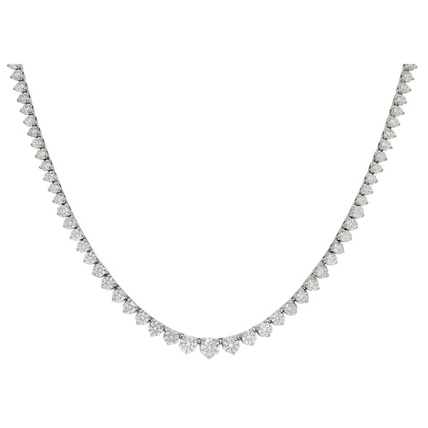 18k White Gold Diamond Riviera Necklace in 17