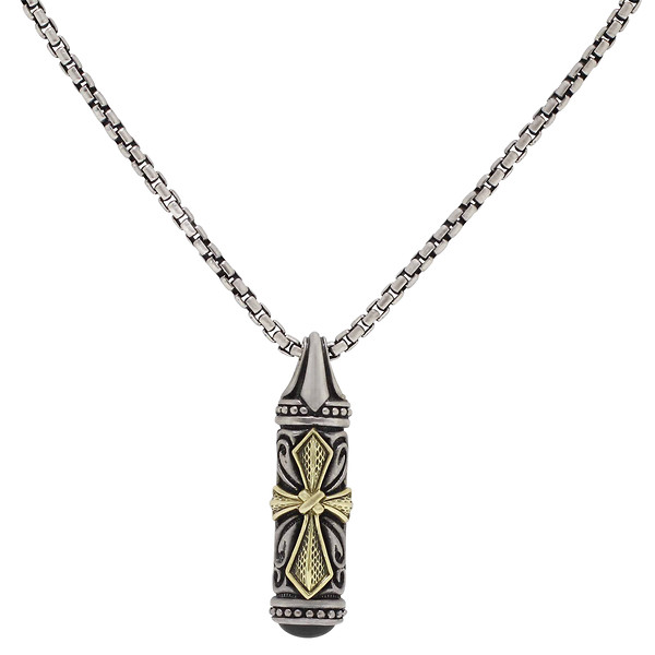Men's Sterling Silver & 18k Yellow Gold Cross Pendant on an Endless Chain