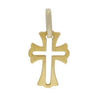 18k Yellow Gold Negative-Center Fleur-de-Lis Cross Pendant with Opening Bail