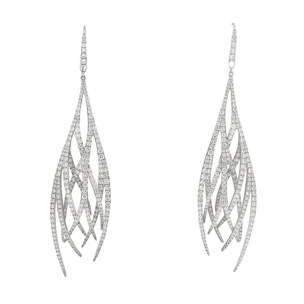 18k White Gold Long Sculpted Wisps Diamond Chandelier Earrings