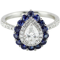 Fabulous Pear Cut Diamond Ring with Blue Sapphire and White Diamond Halos